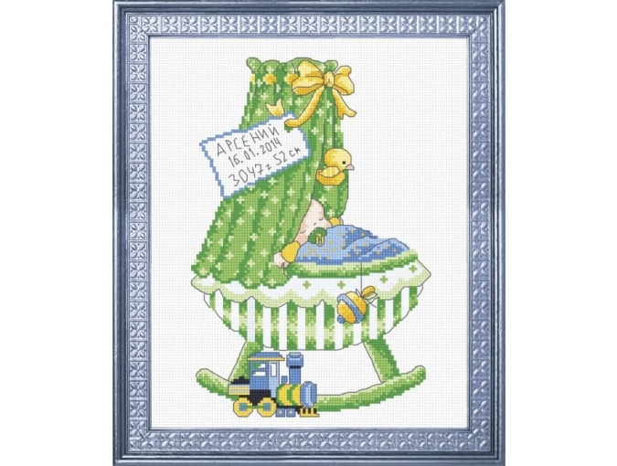 Birth Record Crib for Boy Cross Stitch Kit фото 1
