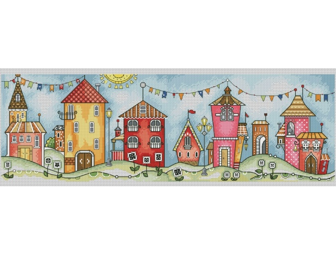 Tiny Village Cross Stitch Pattern фото 1