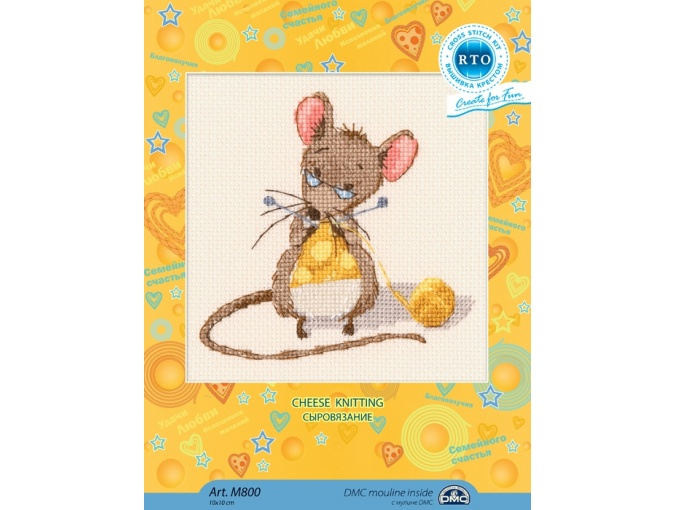 Cheese Knitting Cross Stitch Kit фото 2