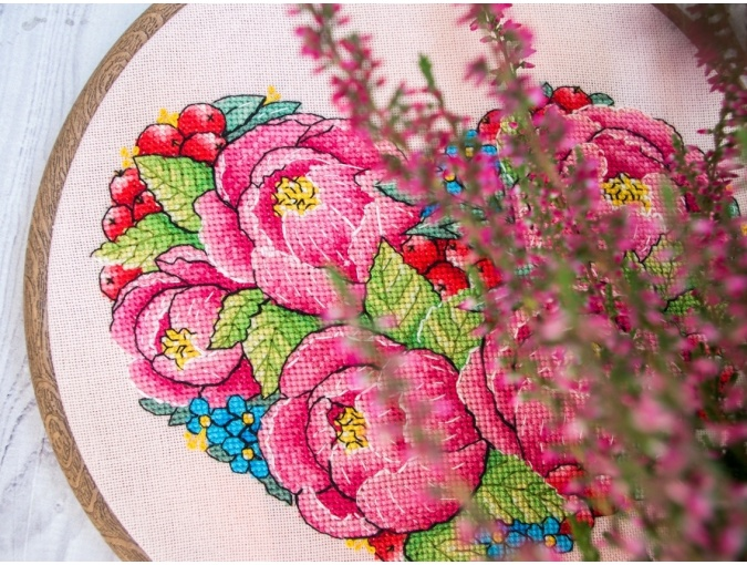 Peony Heart Cross Stitch Pattern фото 4