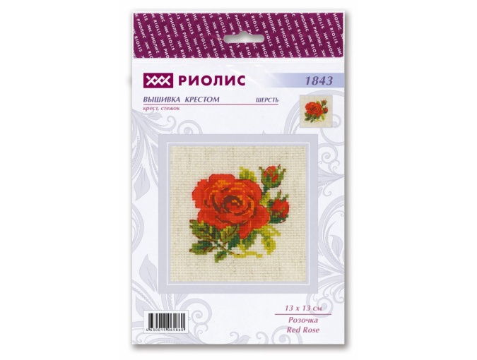 Flame Red Rose Cross Stitch Kit фото 2
