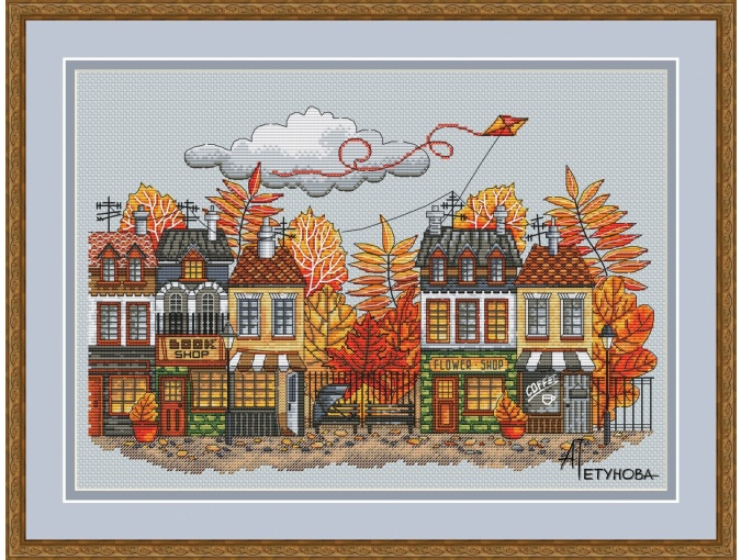 In the City of Autumn Cross Stitch Pattern фото 1