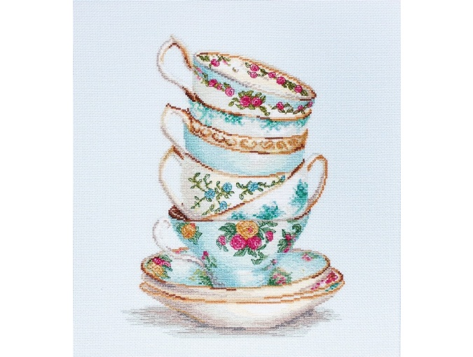 Turquoise Themed Tea Cups Cross Stitch Kit фото 1