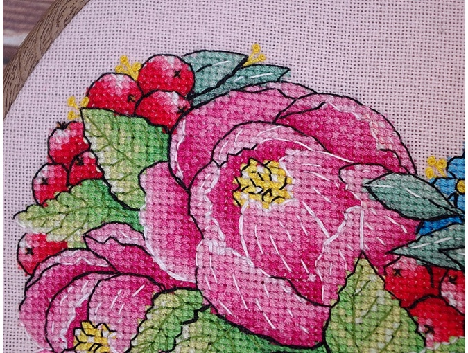 Peony Heart Cross Stitch Pattern фото 7