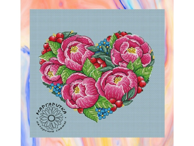 Peony Heart Cross Stitch Pattern фото 1