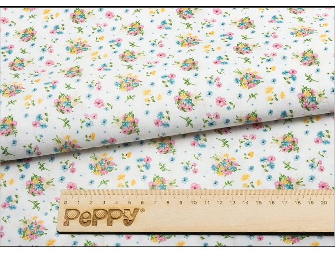 Fat Quarter Peppy, print White with Flowers фото 2