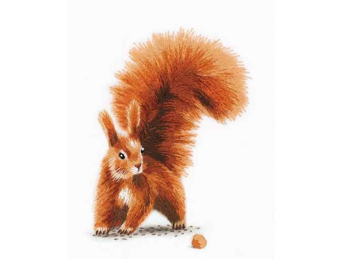 Squirrel with a Nut Embroidery Kit фото 1