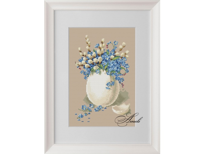 Forget-me-nots and Willow Cross Stitch Pattern фото 1