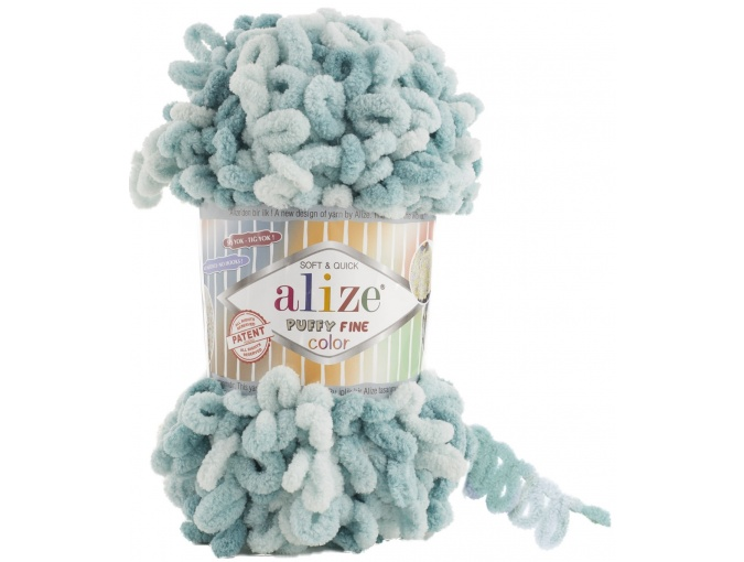 Alize Puffy Fine Color, 100% Micropolyester 5 Skein Value Pack, 500g фото 13