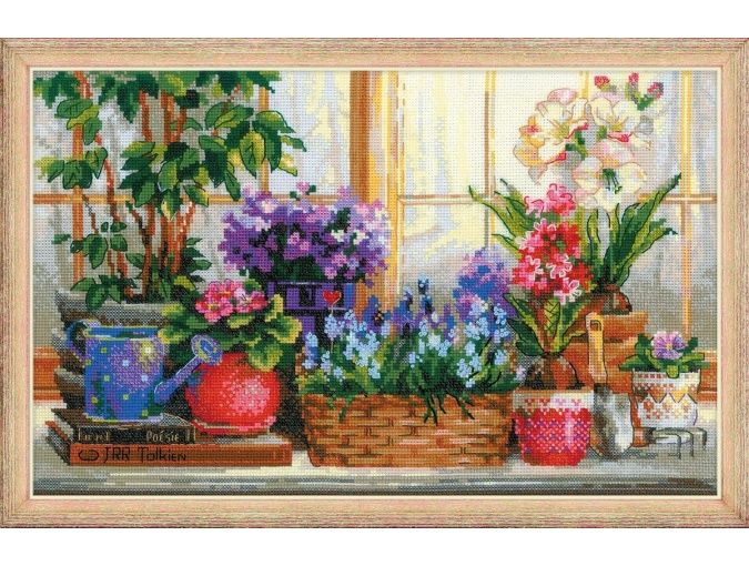 Windowsill with Flowers Cross Stitch Kit фото 1
