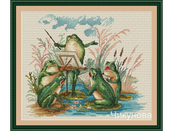 Frog Orchestra Cross Stitch Pattern фото 1