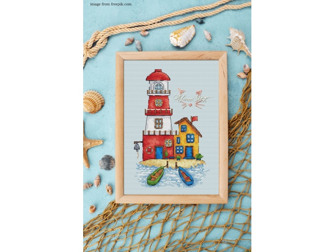 Red Lighthouse Cross Stitch Pattern фото 2