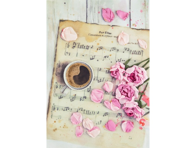 Roses on Sheet Music Embroidery Kit фото 1