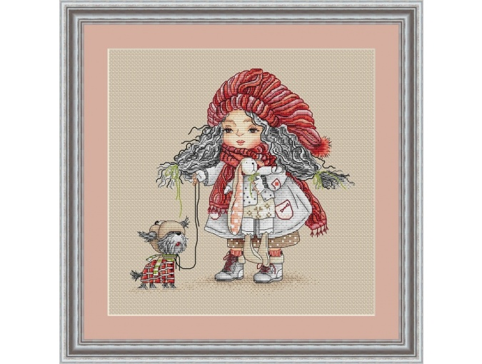 Girl with a Dog Cross Stitch Pattern фото 1