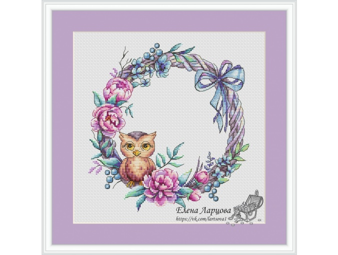 Wreath with Owl Cross Stitch Pattern фото 1