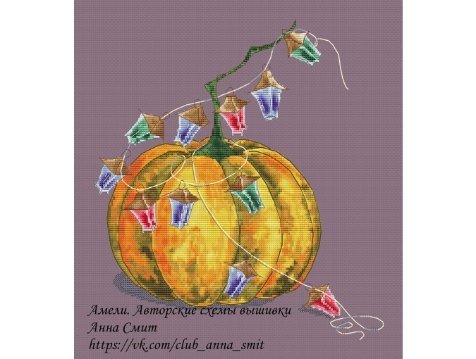 Pumpkin and Garland Cross Stitch Pattern фото 1
