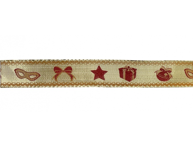 Decorative ribbon Holiday on Gold, 2cm/22,8m фото 1
