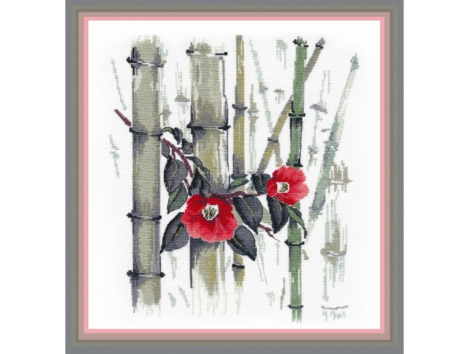 Camellias in a Bamboo Grove Cross Stitch Kit фото 1