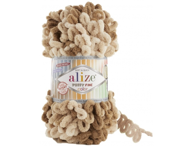 Alize Puffy Fine Color, 100% Micropolyester 5 Skein Value Pack, 500g фото 15