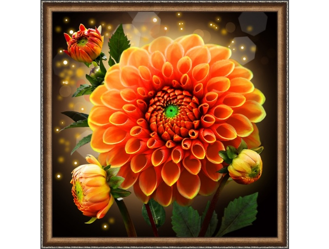 Sparkling Dahlia Diamond Painting Kit фото 1