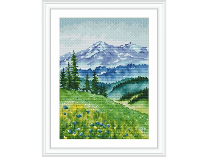 Mountain Landscape Cross Stitch Pattern фото 1