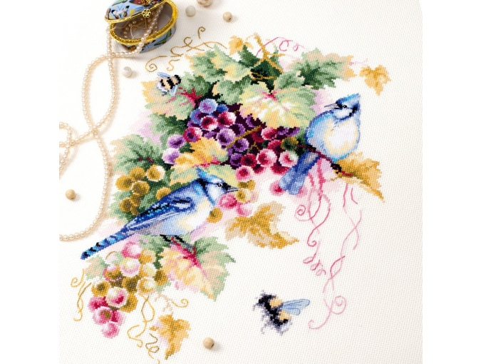 Blue Jay and Grapes Cross Stitch Kit фото 7
