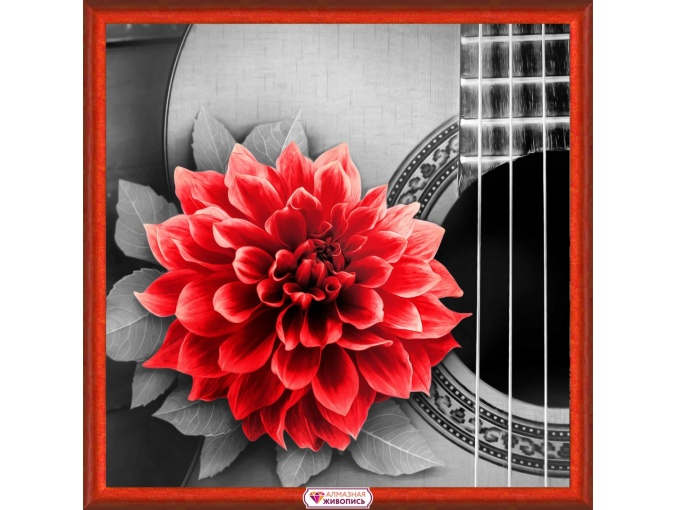 Flower on the Guitar Diamond Painting Kit фото 1