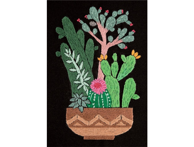 Cactuses in Planter Embroidery Kit фото 1
