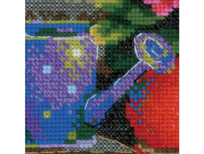 Windowsill with Flowers Cross Stitch Kit фото 2