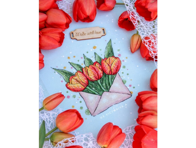 Envelope with Tulips Cross Stitch Pattern фото 7