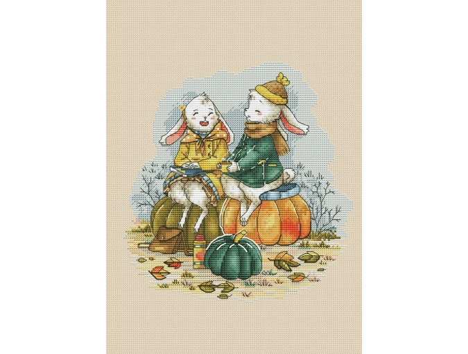 Autumn Bunnies Cross Stitch Pattern фото 1