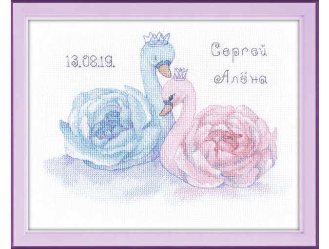 Wedding Metric. Swans Cross Stitch Kit фото 1