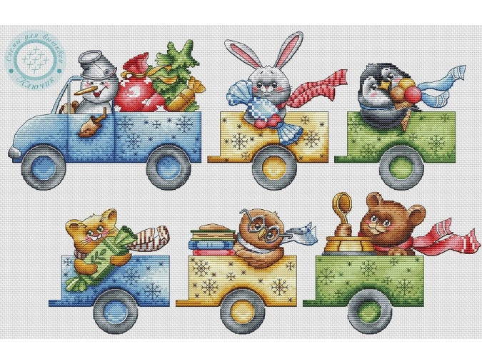 Christmas Truck Cross Stitch Pattern фото 1