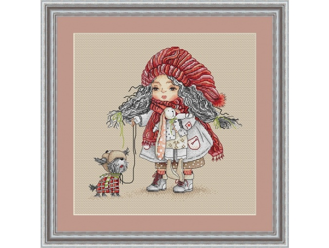 Girl with a Dog Cross Stitch Pattern фото 2
