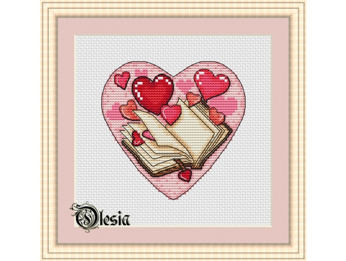 Heart with a Book Cross Stitch Pattern фото 1