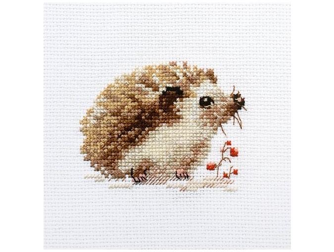little hand embroidered lavender hedgehog