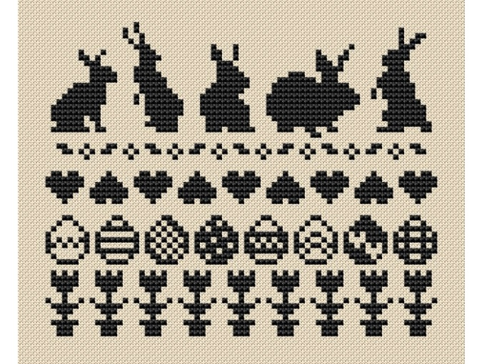 Easter Bunnies and Eggs Cross Stitch Pattern фото 3