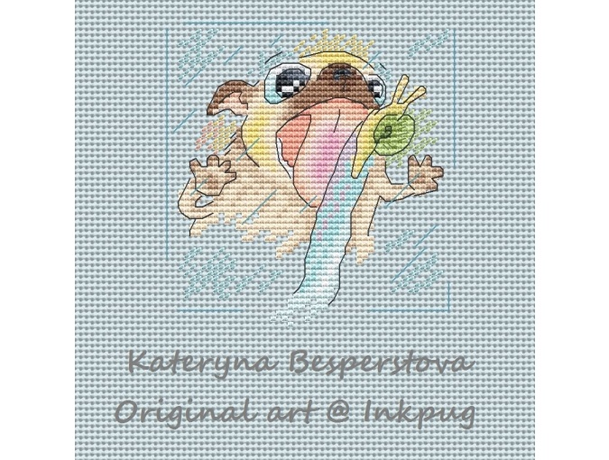 Pug is a Lick Cross Stitch Pattern фото 1