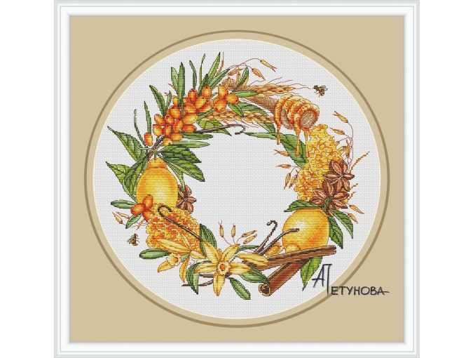 Vitamin Wreath Cross Stitch Pattern фото 1