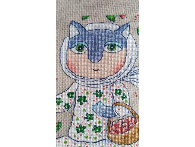 Strawberry Cat Cross Stitch Pattern фото 4