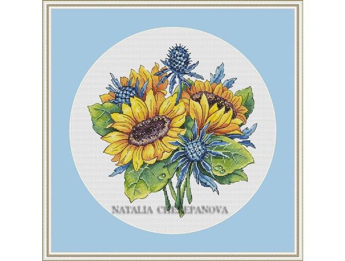 Sunflowers and Eryngium Cross Stitch Pattern фото 1