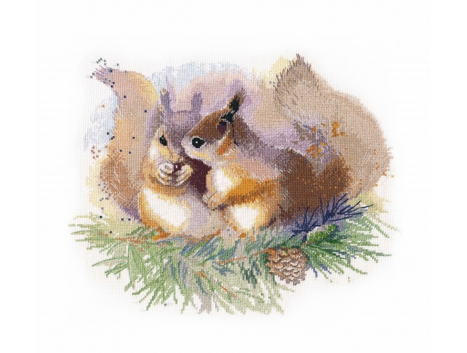 Watercolor Squirrels Cross Stitch Kit  фото 1