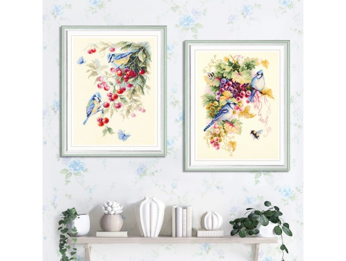 Blue Jay and Grapes Cross Stitch Kit фото 5