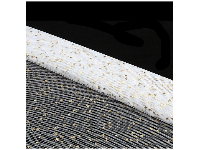 White Glitter Star Mesh Patchwork Fabric фото 2