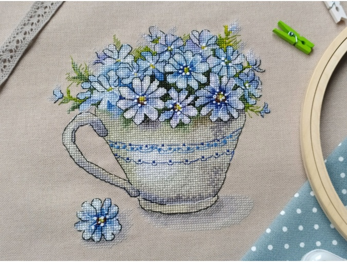 Cup with Flowers Cross Stitch Pattern фото 4