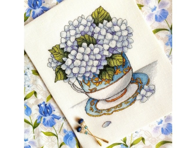 Cup with Hydrangea Cross Stitch Pattern фото 2