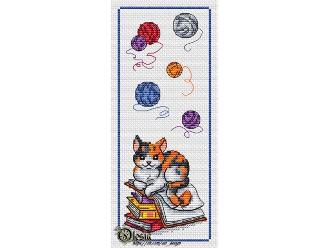 Bookmark with Cat Cross Stitch Pattern фото 1