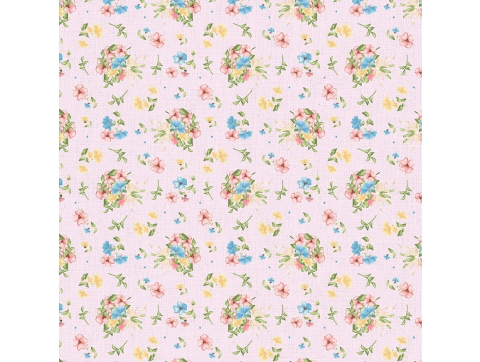 Fat Quarter Peppy, print Pink with Flowers фото 1