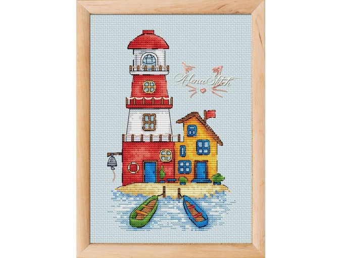 Red Lighthouse Cross Stitch Pattern фото 1