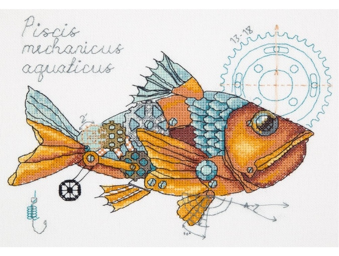 Clockwork Fish Cross Stitch Kit фото 1